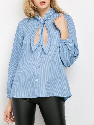 Pockets Loose Striped Shirt - Blue