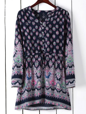 Printed Drawstring V-Neck Bohemian Beach Dress