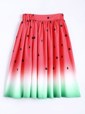 Ball Gown Watermelon Print Skirt - Watermelon Red
