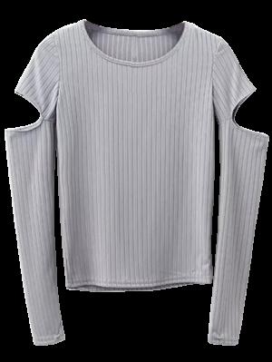 Split Long Sleeve Layering Top - Gray