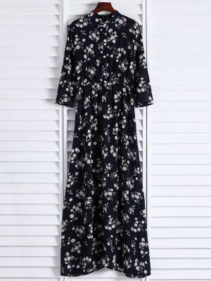 Floral Printed Fall Dress - Black