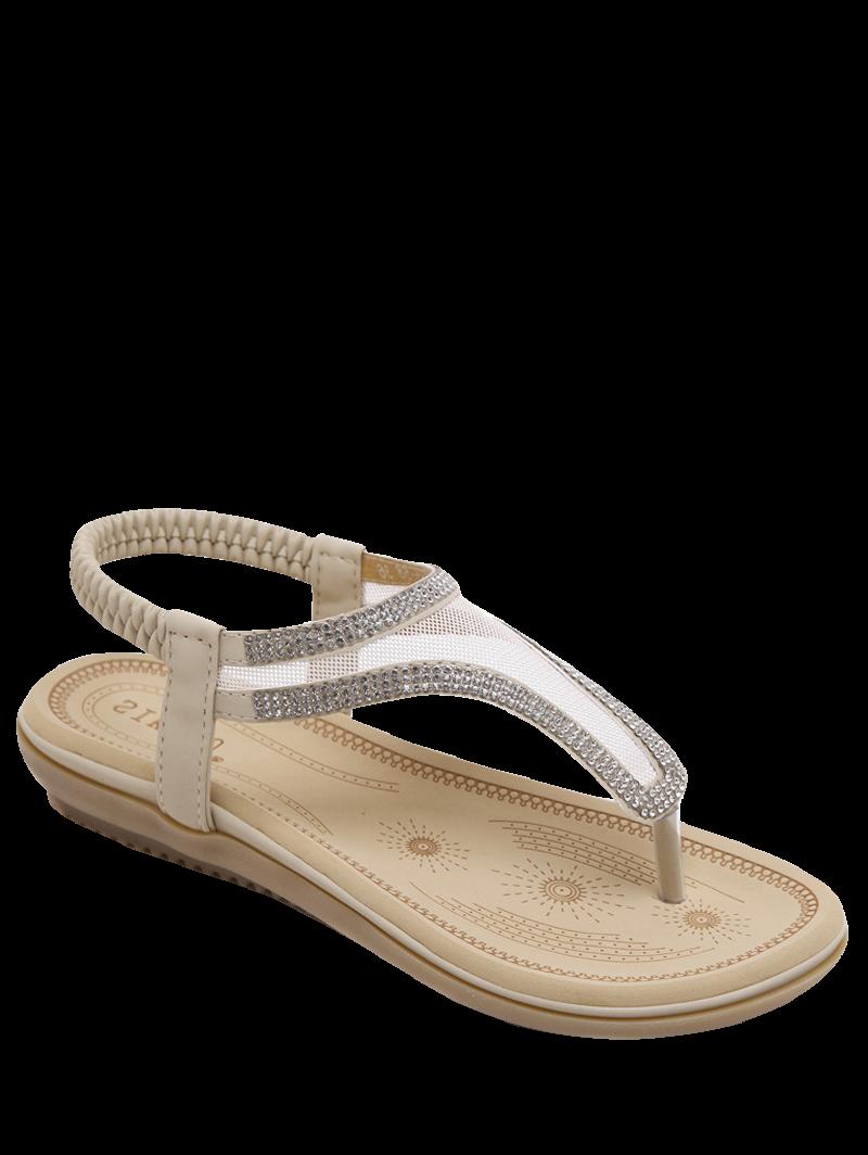 Elastic Band Rhinestones Mesh Sandals