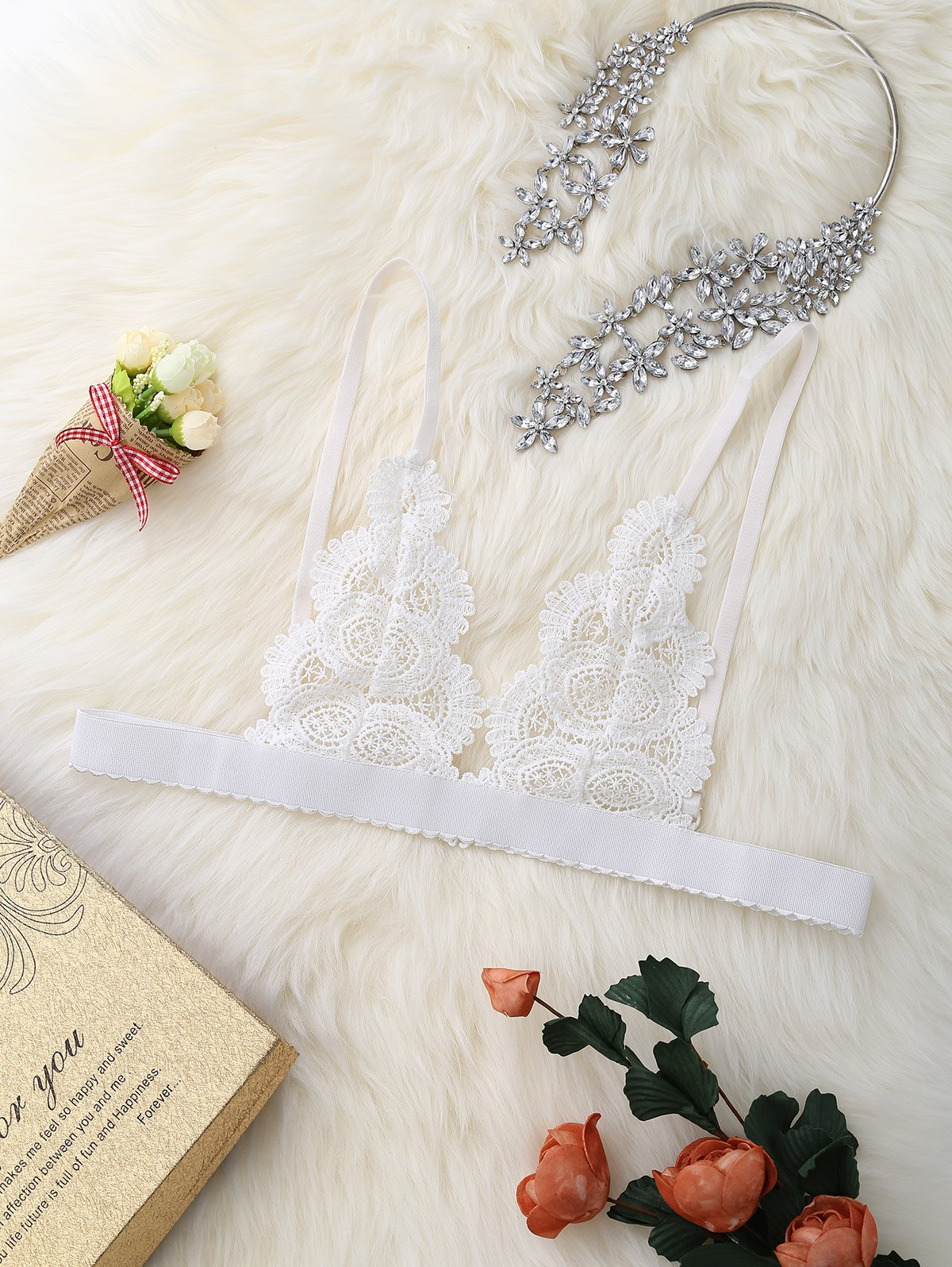 Unlined Lace See Through Cami Bra