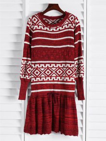 Geometric Pattern Long Sleeve Sweater Dress