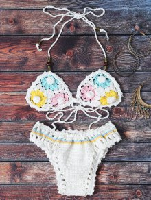 Flower Pattern Halter Crochet Bikini Set