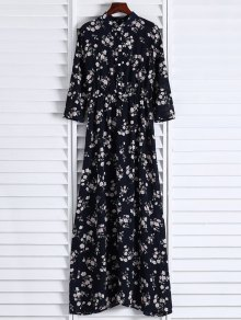 Floral Printed Fall Dress - Negro