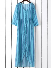 Vertical Stripe Maxi Shirt Dress