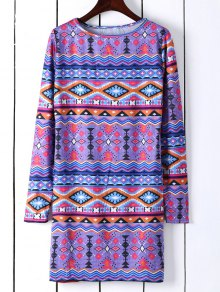 Long Sleeve Printed Shift Tunic Dress - Blue M