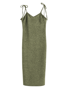 Glitter Tie Shoulder Slip Dress - Light_gold