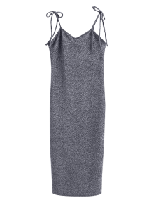 Glitter Tie Shoulder Slip Dress - Silver Gray