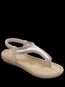 Elastic Band Rhinestones Mesh Sandals - Apricot