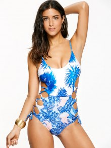 Lace-Up High Cut One-Piece Swimwear - Blue