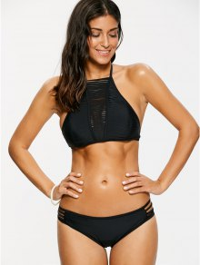 Sheer Stripe High Neck Bikini Set - Black M