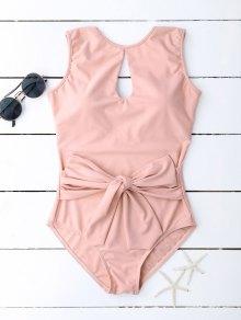 Keyhole Bowknot Swimwear - Pink