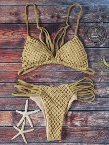 Solid Color Spaghetti Straps Mesh Bikini Set - Grey Olive M