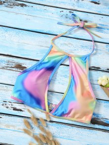 Halter Low Cut Tie Dye Cute Bathing Suit Top