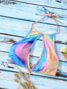 Halter Low Cut Tie Dye Cute Bathing Suit Top - Multicolor L