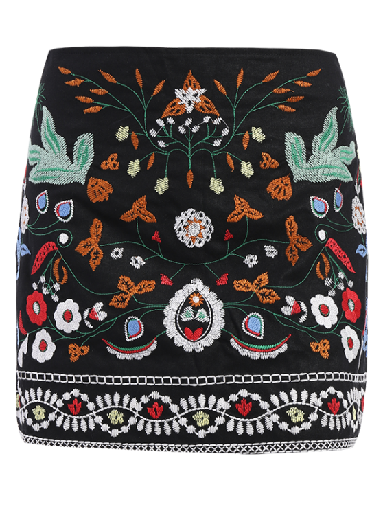 Mini Floral Embroidered Flare Skirt - BLACK M Mobile