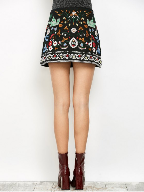 Mini Floral Embroidered Flare Skirt - BLACK S Mobile