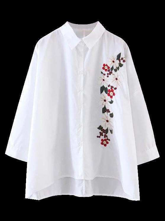 Alta camisa bordada floral baja - Blanco S
