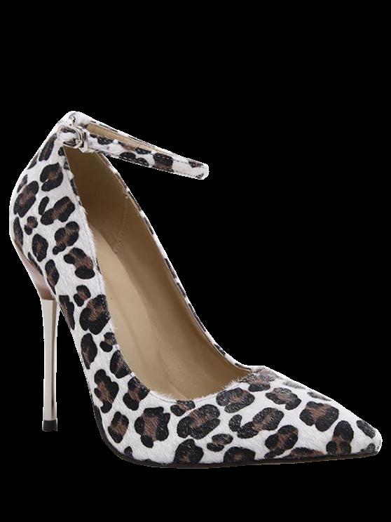 unique Pointed Toe Leopard Print Ankle Strap Pumps - LEOPARD 40
