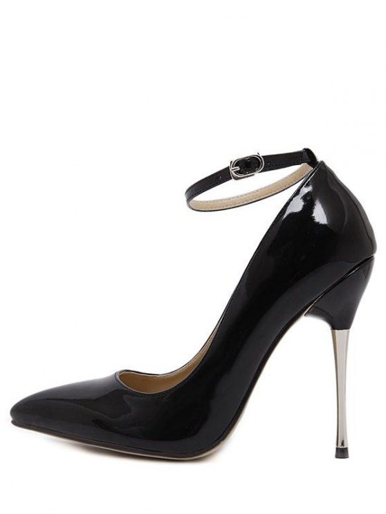 Ankle Strap Stiletto Heel Patent Leather Pumps - BLACK 39 Mobile