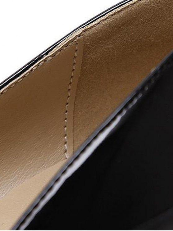 Ankle Strap Stiletto Heel Patent Leather Pumps - BLACK 39 Mobile
