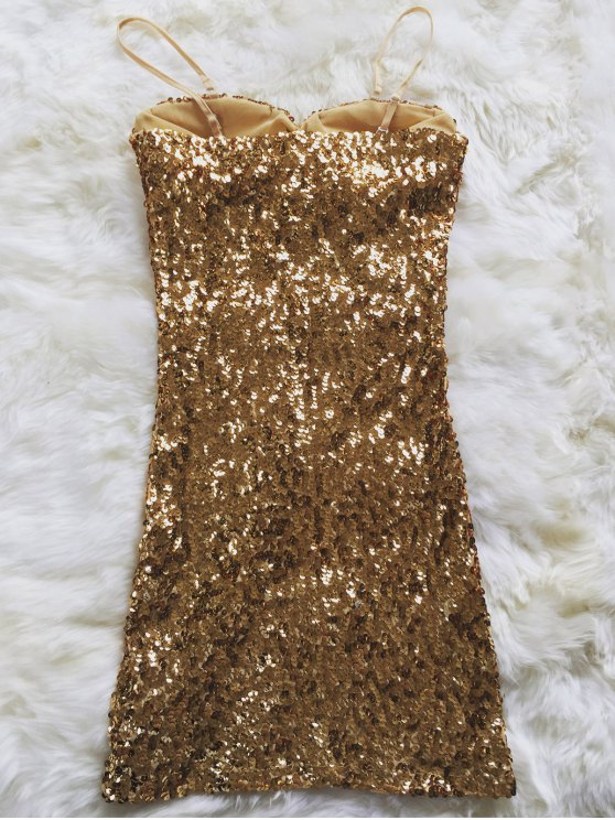 Mini Slip Sequins Dress - GOLDEN ONE SIZE(FIT SIZE XS TO M) Mobile