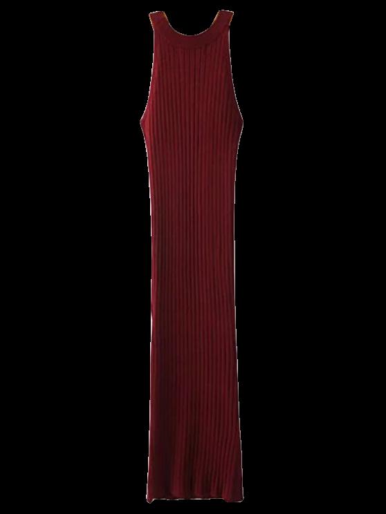 Hendidura sin mangas Vestido de punto acanalado - Burdeos Única Talla