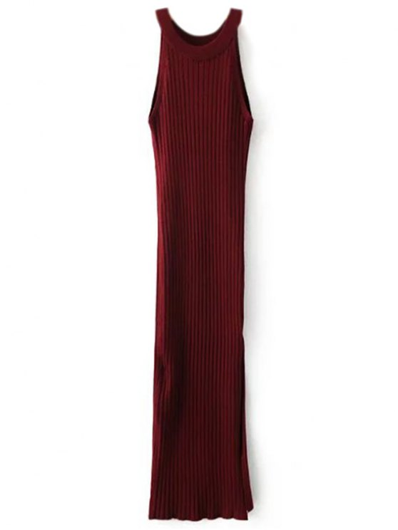 Slit Sleeveless Ribbed Bodycon Dress - BURGUNDY ONE SIZE Mobile