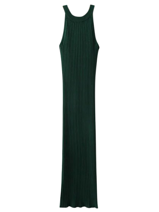 chic Slit Sleeveless Ribbed Bodycon Dress - BLACKISH GREEN ONE SIZE