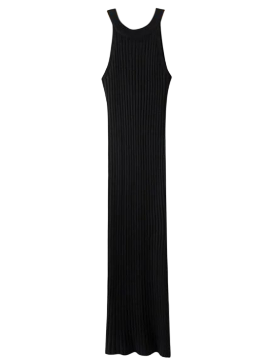 fancy Slit Sleeveless Ribbed Bodycon Dress - BLACK ONE SIZE