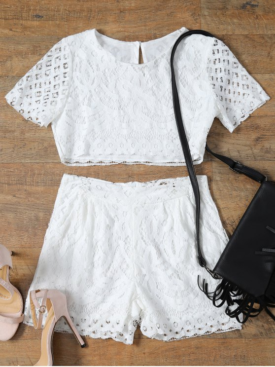 Short Sleeve Guipure Lace Crop Top + Pocket Shortst - WHITE L Mobile