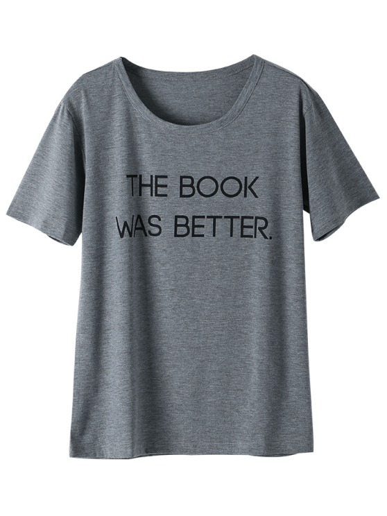 Short Sleeve Letter Graphic Tee - GRAY L Mobile
