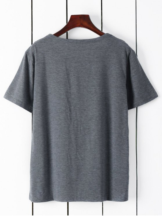 Short Sleeve Letter Graphic Tee - GRAY M Mobile