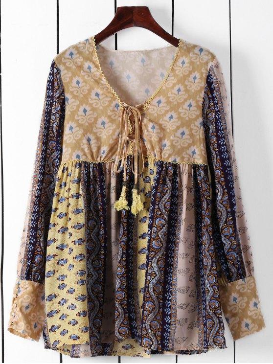 online Long Sleeve High-Waisted Tunic Dress - YELLOW L