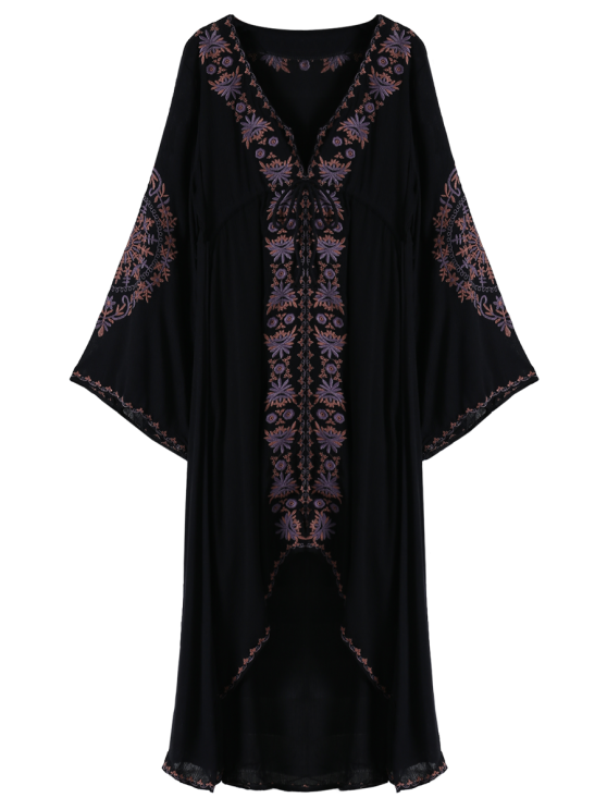 Embroidered High-Low Maxi Dress - BLACK S Mobile
