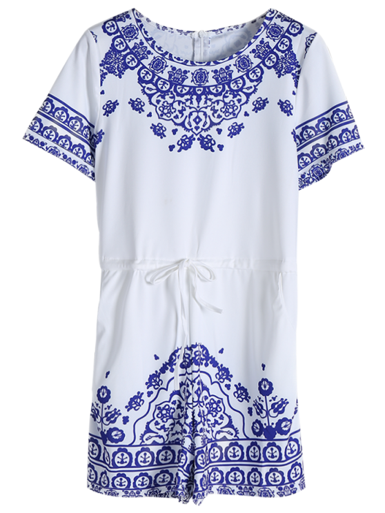 Great Wall Print Porcelain Playsuit - BLUE M Mobile