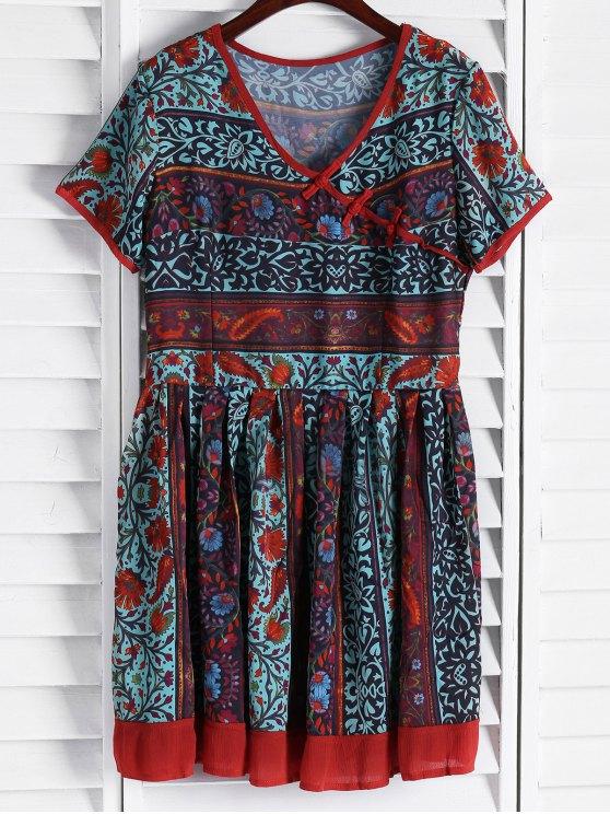 shops Vintage Floral Short Sleeve Flare Dress - COLORMIX S