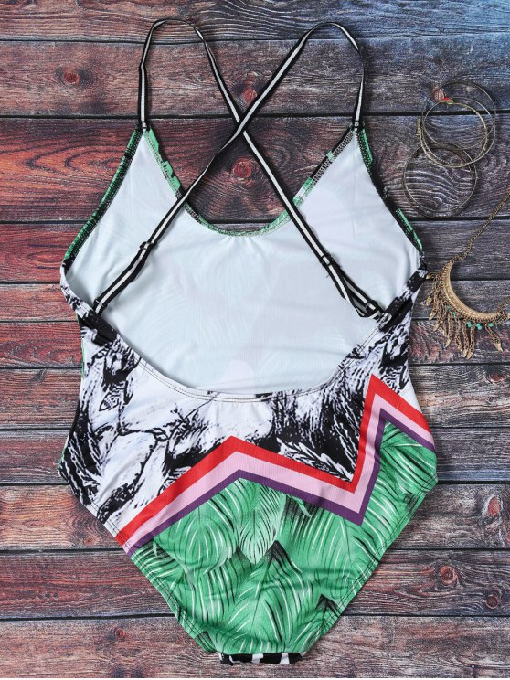 Spaghetti Strap Leaves Print Open Back Swimsuit For Women - COLORMIX M Mobile