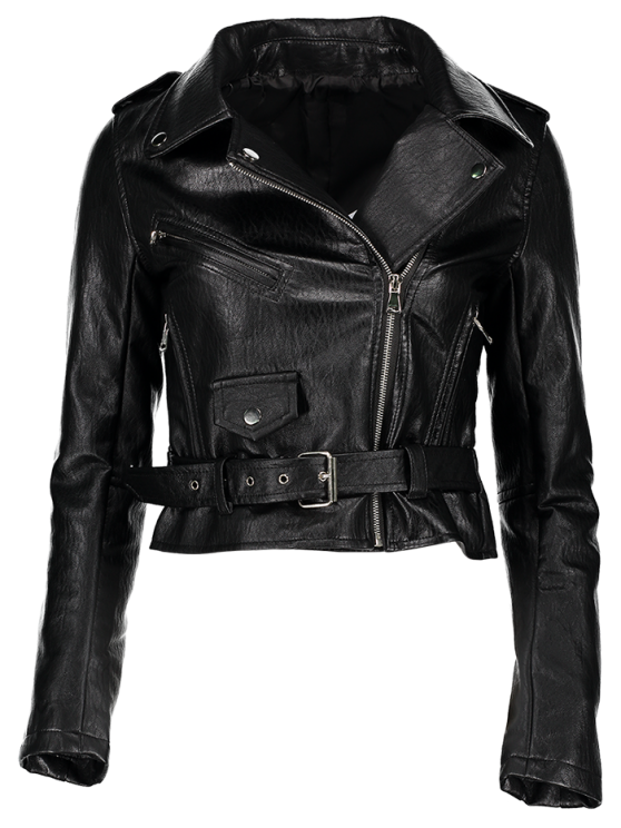 Zip-Up PU Leather Motorcycle Jacket - BLACK L Mobile