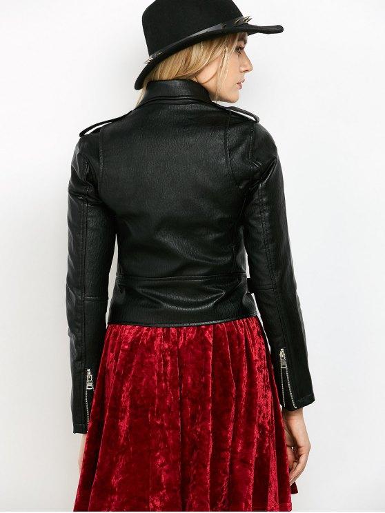 Zip-Up PU Leather Motorcycle Jacket - BLACK M Mobile