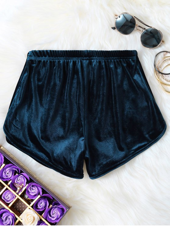 Pantalones cortos de terciopelo elástico de la cintura - Pavo Real Azul M