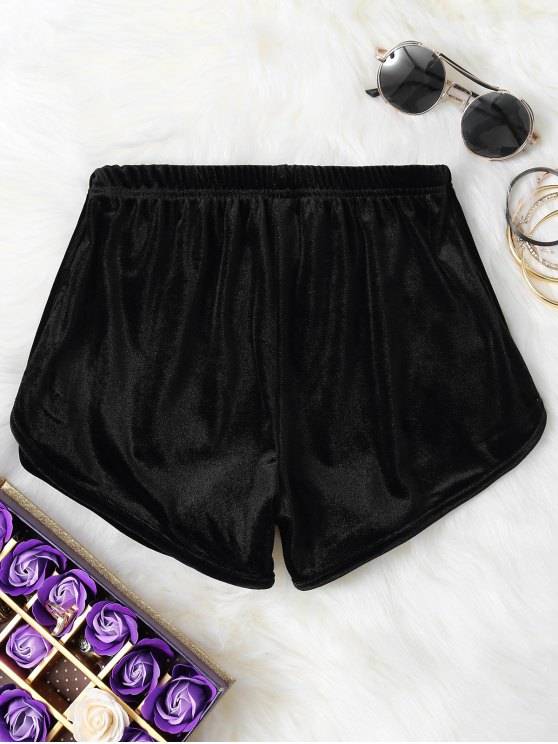 Pantalones cortos de terciopelo elástico de la cintura - Negro M