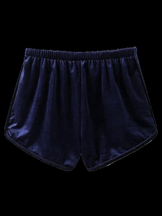 Velvet Elastic Waist Shorts - PURPLISH BLUE L Mobile