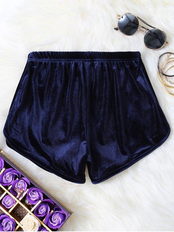 Pantalones cortos de terciopelo elástico de la cintura - Azul Purpúreo S