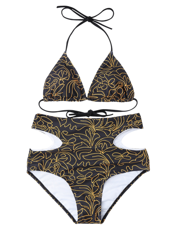 Print Cutout High Waisted Bikini Set - BLACK L Mobile