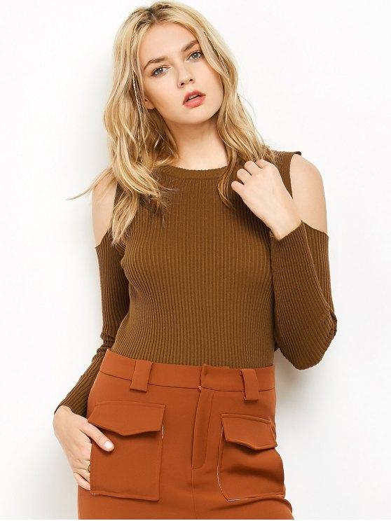 outfits Cold Shoulder Ribbed Jumper - CAMEL S