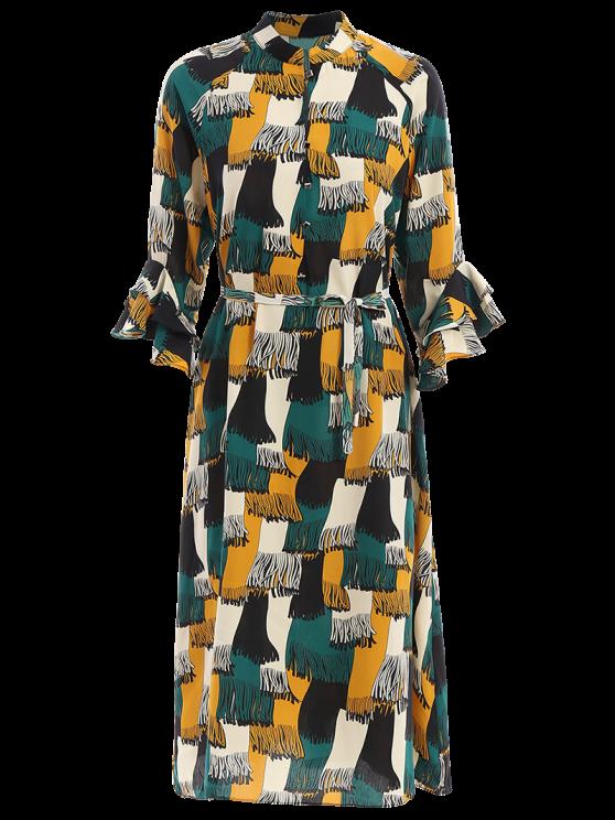 Los bolsillos de cadera manga Frilled camisa de vestir - Colormix L