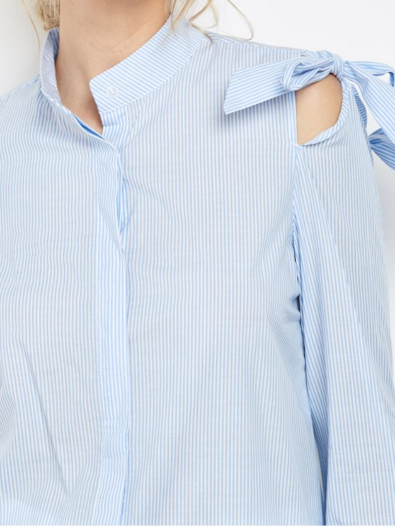 Striped Stand Neck Bowknot Shirt - STRIPE S Mobile